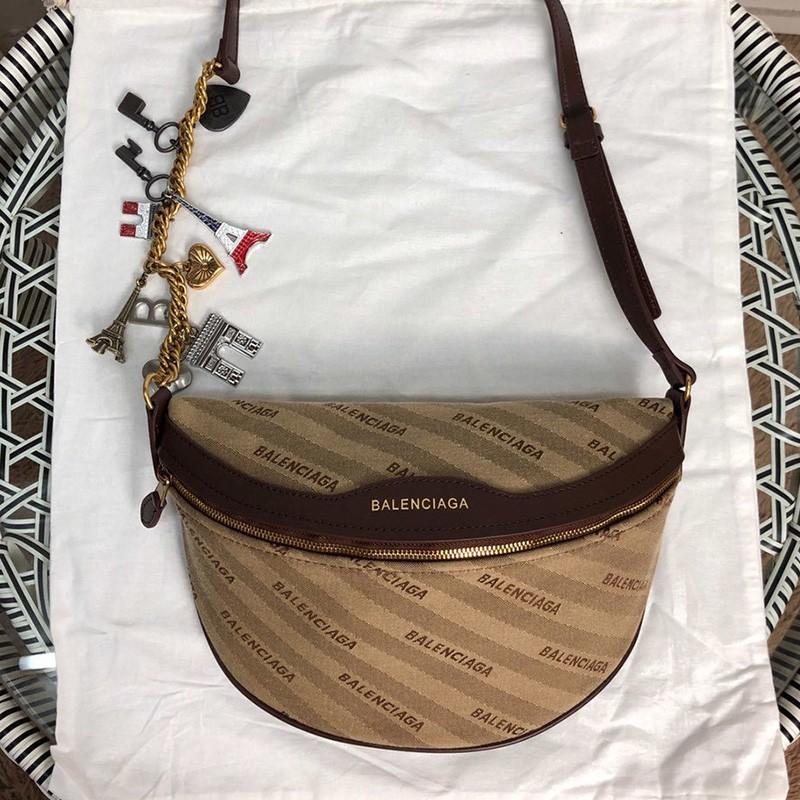 Balenciaga Allover Diagonal Logo Beltbag In Brown Outlet Balenciaga Cheap Sale Store