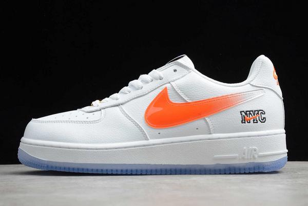 "Kith x Nike Air Force 1 Low ""NYC"" White/Rush Blue-Brilliant Orange 2020 CZ7928-100"