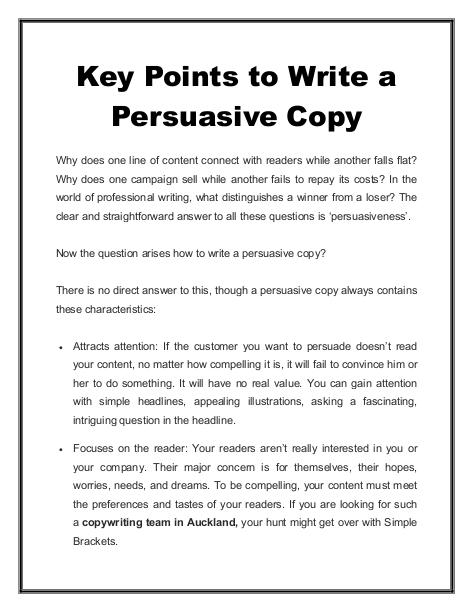 Key Points to Write a Persuasive Copy
